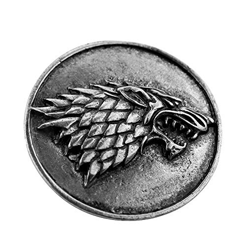 Thrones Stark Wolf Head Brooch Pins Halloween Cosplay Costumes -