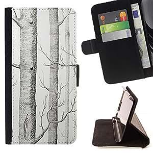 Momo Phone Case / Flip Funda de Cuero Case Cover - Dibujo Árbol Blanco Arte Lápiz - Sony Xperia Z2 D6502