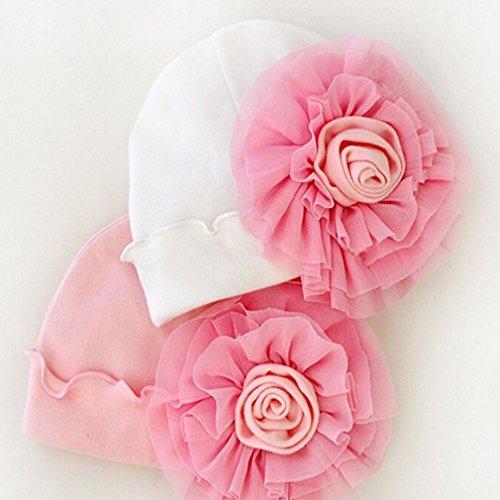 Iumer 1pcs Newborn Soft Cotton Beanie Baby Big Flower Hat Girl Boy Cap Pink