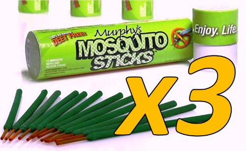 3-Duffel bag SAVE $$ Murphy's Mosquito Sticks - All Natural Insect Repellent Incense Sticks - Bamboo Infused with Citronella, Lemongrass & Rosemary (3 finish)