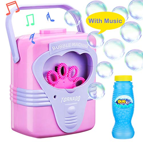 Bubble Machine With Music For Kids Children Toddlers Babies Boys Girls Automatic Durable Bubble Makers Birthday Parties Picnics Parks Bubble Blower Toys 2 3 4 5 6 Years Old Outdoor Battery Operated ()