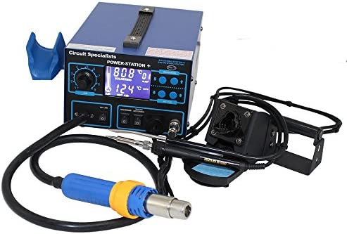 Deluxe Hot-Air Station – Soldering Iron, Liquid Crystal Display, Smoke Absorber Component Pick-Up Wand