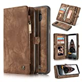 Galaxy S8 Plus Wallet Case with Magnetic Detachable Slim Case, Card Slots Holder, Kicstand, Zipper Pocket, 2 In 1 Vintage Leather Flip Wallet Case for Galaxy S8 Plus Brown-by CASEOWL