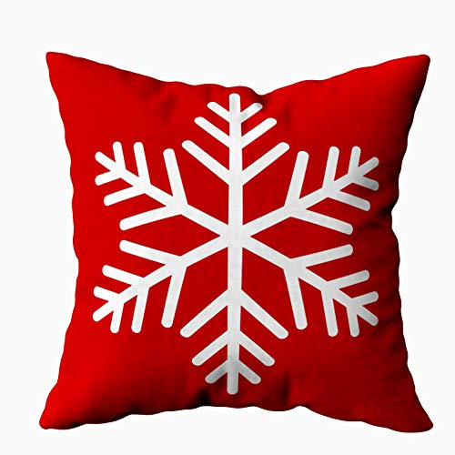 Capsceoll Modern Winter White Snowflake red Color Decorative Throw Pillow Case 16X16Inch,Home Decoration Pillowcase Zippered Pillow Covers Cushion Cover with Words for Book Lover Worm Sofa Couch (Snowflake Zippered Pillowcases)