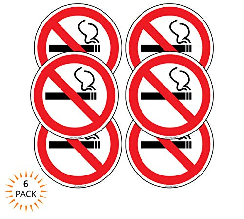 No Smoking Stickers Car Window Decal 2 in. Pack of 6- Ideal for Taxis, Rental Vehicles and Company Cars