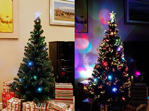 6 FT PRE-LIT MULTI COLOR LED FIBER OPTIC WITH STAR TOPPER ARTIFICIAL GREEN CHRISTMAS TREE