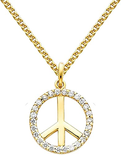 14K Yellow Gold Cross Charm Pendant with 1.5mm Flat Open Wheat Chain Necklace