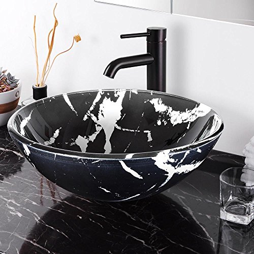 - Aquaterior Tempered Glass Round Vessel Sink Artistic Marbling Pattern Above Counter Bathroom Lavatory Vanity Bowl Basin