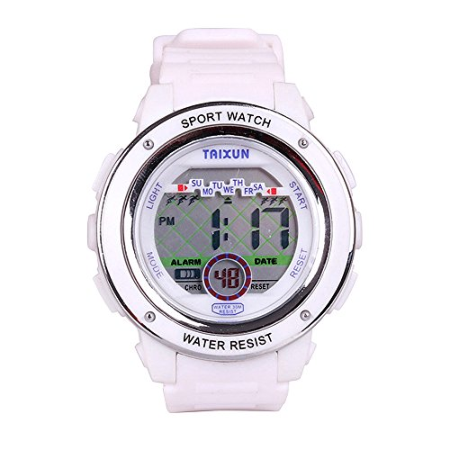 TAIXUNKids Cool Outdoor Sports Watch LED Digital Water Resistant Electronic Wrist Dress Watch with Stopwatch Resin Adjustable Band for Boys Girls White ()