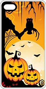 MMZ DIY PHONE CASEHalloween Pumpkins, Bats, & Spiders White Plastic Case for Apple ipod touch 5
