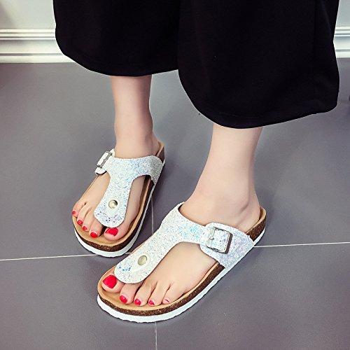 ED White Women's Flip Shoes Pool Fashion Flops Sandals Slipper Beach Paillette Slim Retro q1xOwqfr