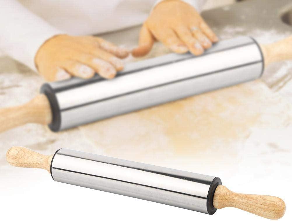 para pan galletas Rodillo antiadherente de acero inoxidable con mango de madera etc. pasteles