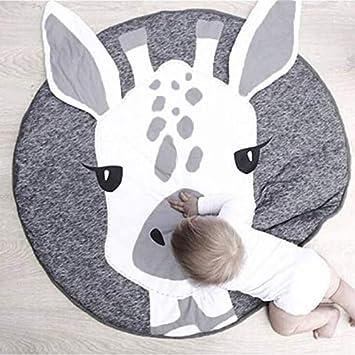 Nordic Ideas Tapis de Jeu Bebe Animaux Girafe Coton Rond Tapis éveil Bébé  Fille Garçon Decoration Chambre Enfant