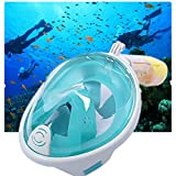 Diving Mask and Snorkel Full Face Set,MEILIIO Diving Mask Antifog Anti-leak with 180º Degrees Viewing Area Easy Breath Foldable Adjustable Head Straps Snorkel Mask Adults and Youth (S/M,Green)