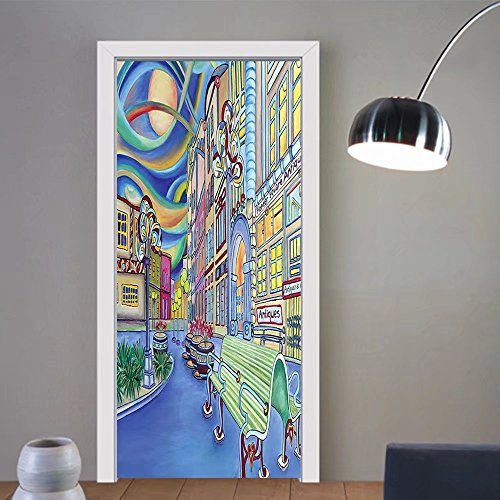 Gzhihine custom made 3d door stickers Abstract Home Decor Collection Seattle Downtown Modern City Colorful Design Art Oil Painting Effect Blue Mint Yellow Green For Room Decor - 200 Outlet Seattle