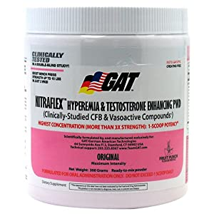 GAT Sport NITRAFLEX Testosterone Boosting Powder, Increases Blood Flow, Boosts Strength and Energy, Improves Exercise Performance, Creatine-Free (Black Cherry, 30 Servings)