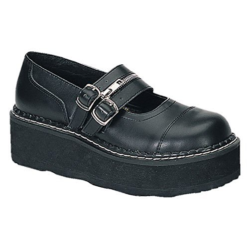 Demonia Di Pleaser Womens Emily-306 Mary Jane Flat Black Pu