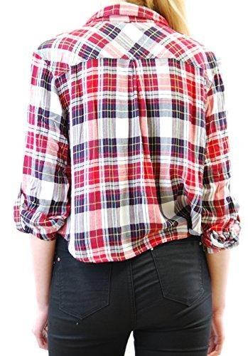 Rails Women's Rian Rayon Cropped Long Sleeve Buttondown Shirt Cranberry/Midnight S