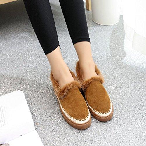 Hoxekle Femmes Coréenne Version Bas Haut Talons Bas Bout Rond Plate-forme En Caoutchouc Semelle Sur Mocassins Chaussures Marron