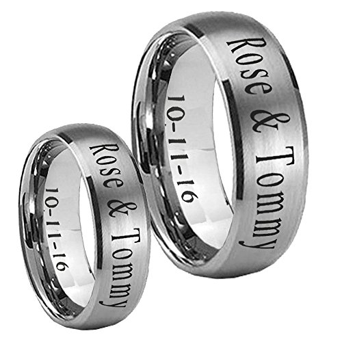 Hers Tungsten Satin (His Her's Tungsten Brushed Satin Middle Dome Wedding Rings Set Size 7, 12)