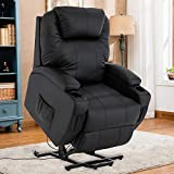 Mecor Lift Chairs for Elderly,Power Lift Recliners,PU Leather Reclining Lift Chair with Massage/Heat/Cup Holders/Remote Control for Living Room (Brown-Upgraded)