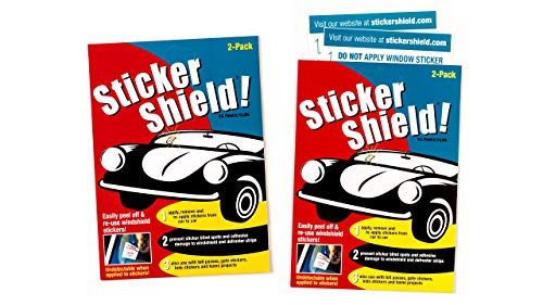 Sticker Shield - Windshield Sticker Applicator for Easy Application, Removal and Re-Application from Car to Car - 2 Packs of 4 inch x 6 inch Sheets (Total of 4 Sheets) ()