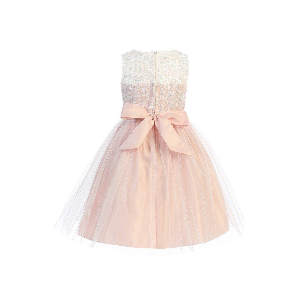 e8ef80b9090d1 Amazon.com: Sweet Kids Big Girls Pink Mesh Pearl Trim Party Easter Dress  7-16: Clothing