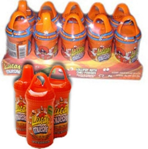 Lucas Muecas Mango Flavored Lollipop W/Chili Powder Mexican Candy 10 Pieces