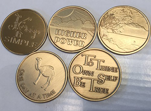Sober-Sobriety-Serenity Set I (5 Total) Bronze AA (Alcoholics Anonymous) - Birthday / Anniversary / Recovery / Medallion / Coin / Chip