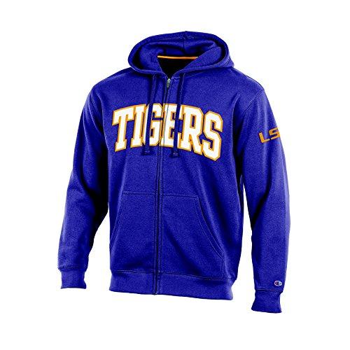 (NCAA LSU Tigers Adult Men Full Zip Hooded Fleece, Small, Purple)