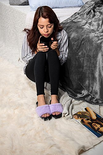Aerusi Vrouwen Nerts Bont Glijbaan Sandaal Indoor Huis Home Slipper Paars