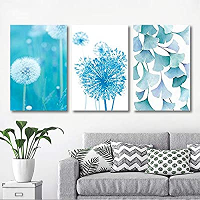 3 Panel Canvas Wall Art - Blue Dandelion and Ginkgo Leaves - Giclee Print Gallery Wrap Modern Home Art Ready to Hang - 16