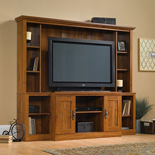 """Kissemoji Abbey Oak Finish TV Stand With Hutch Home Theater For TVs Up To 47"""""""