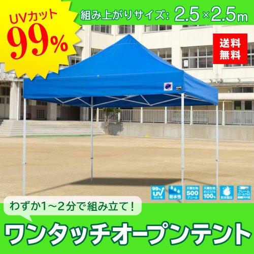E-ZUP イージーアップ イージーアップテント 組み立てテント デラックス(スチールタイプ) [DX25-17BL] 2.5m×2.5m 天幕色:青 ブルー 防水 防炎 紫外線カット99% B07C9S5352