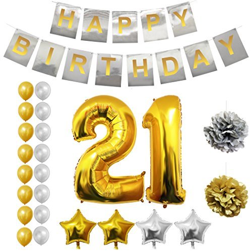 21st Happy Birthday Party Balloons, Supplies & Decorations by Belle Vous - 24 Pc Set - Large 21 Years Foil Balloon ? 12? Gold and Silver Latex Balloon Decoration - Decor Suitable for All Adults (Vegas Party Wedding Beer)