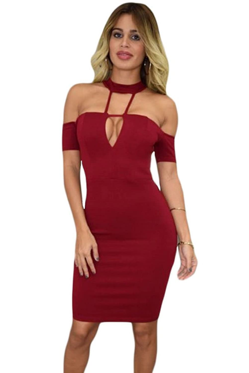 Firstshop Women's Sexy and Cute Off The Shoulder Club Dress