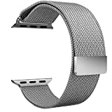 Aerb Milanese Loop Stainless Steel Bracelet Strap Apple Watch Band with Unique Magnet Lock, 38mm, Silver