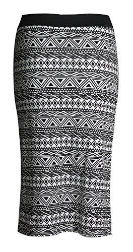 Noir Crayon Femmes Jupe Imprimé Aztec Blanc Actec Élégante wcvSYq