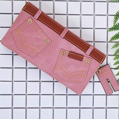 Imitation Denim Long Personality Wallet Multifunction Wallet Wild Wallet Large Capacity Clutch (color   Brown) Ladies Purses (color   Pink)