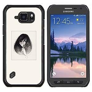 Caucho caso de Shell duro de la cubierta de accesorios de protección BY RAYDREAMMM - Samsung Galaxy S6Active Active G890A - Emo B & W retrato de la muchacha