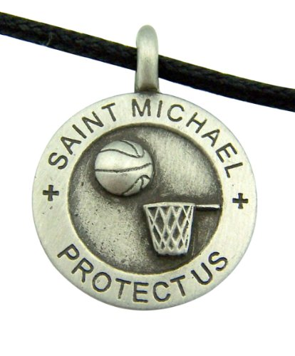 - Religious Catholic Youth Gift 7/8 Inch Round Pewter Archangel Saint St Michael Basketball Sports Protection Medal with Adjustable Cord Chain Necklace