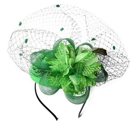Fascinator Hats Pillbox Hat British Bowler Hat Flower Veil Wedding Hat Tea Party Hat (Green)