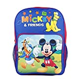 """Disney Mickey Mouse, Donald Duck, Pluto and Friends School Boys 16"""" Backpack Bag"""
