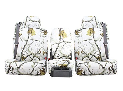 Rear SEAT: ShearComfort Custom Realtree Camo Seat Covers for Ford Ranger (2019-2019) in AP Snow for Solid Bench w/Pullout Arm...