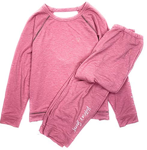 (Victoria's Secret Women's Open Back Sweatshirt and Jogger 2-Piece Lounge-wear Pajama Set Marl Rose Small )