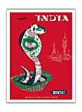 India - Qantas Airways - Indian Cobra (Naja Naja) - Vintage Airline Travel Poster by Harry Rogers c.1960s - Premium 290gsm Giclée Art Print - 12in x 16in