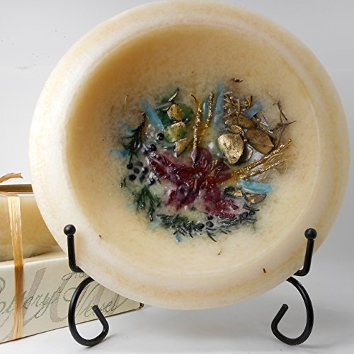 Habersham - The Gift - Gold Frankincense & Myrrh Wax Pottery Bowl 7 Inch With Free Black Stand by Habersham Candle Company