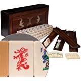 American Mahjong / Mah Jongg Set in Rosewood Box with Bat Decoration