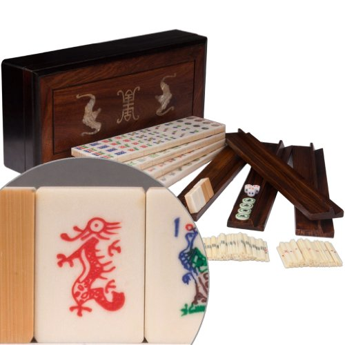 Yellow Mountain Imports Traditional American Mahjong (Mah Jongg, Mah-Jongg, Mahjongg) Set with Bone & Bamboo Tiles in Rosewood Box