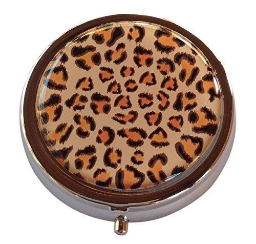 Leopard Round Three Compartment Pocket/Purse/Travel Pill Box Case